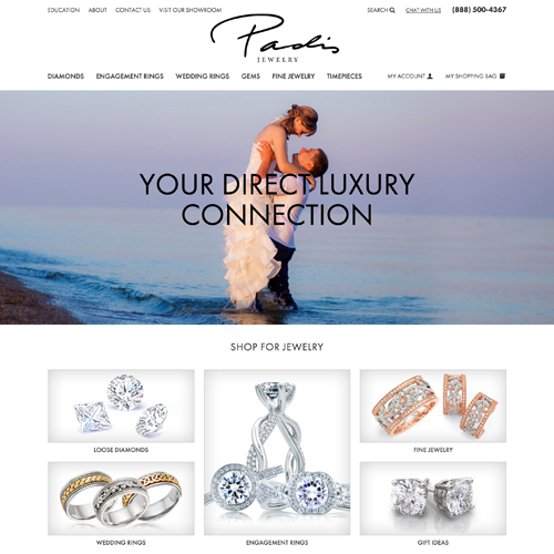jewelry website design example for Padis Jewelry