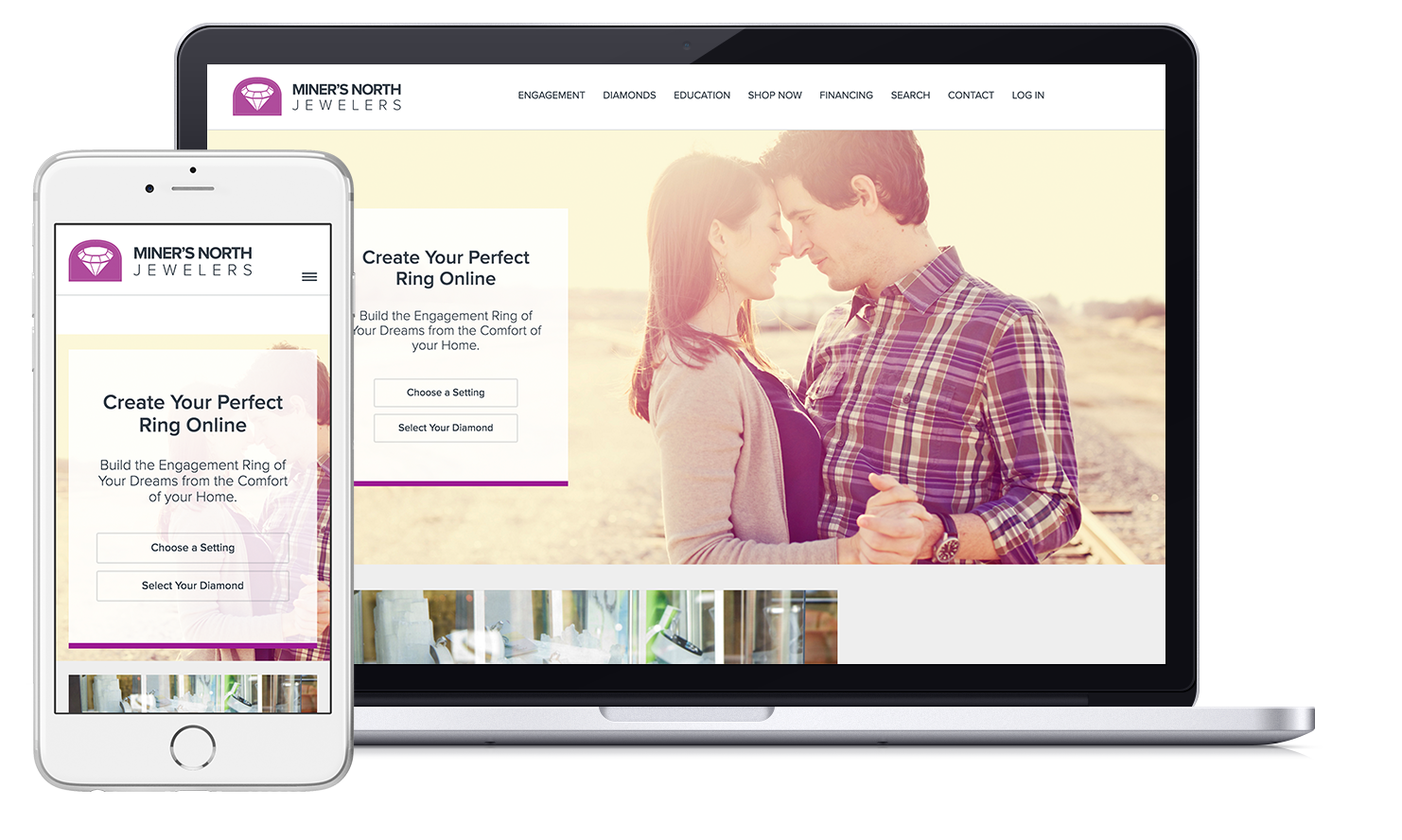 build your engagement ring on a jeweler website