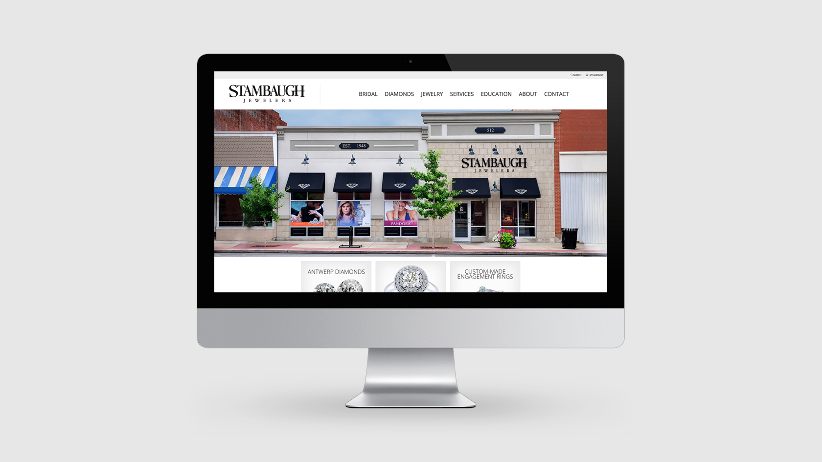 jewelry website design portfolio - Stambaugh Jewelers