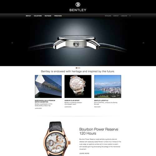 Bentley Luxury Watch website design example - jewelry website in Geneva, Switzerland and Taiwan