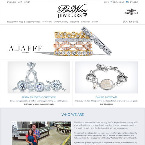 Blue Water Jewelers website design example - jewelry website in Florida