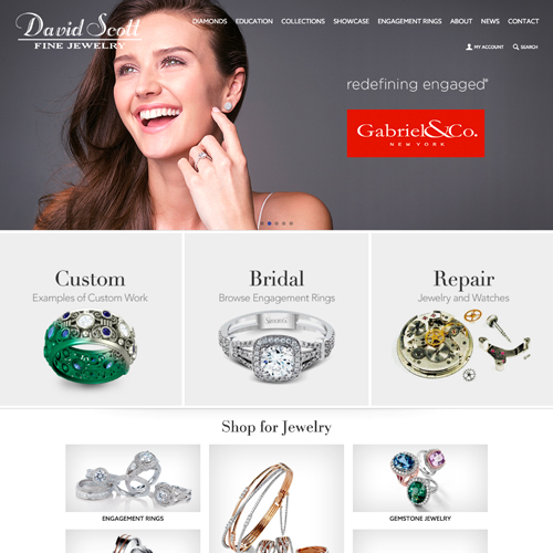 David Scott Fine Jewelry website design example - jewelry website in Florida