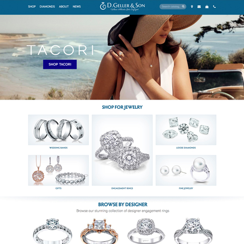D. Geller & Son website design example - jewelry websites