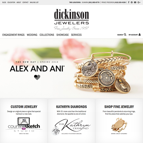 jewelry website design example for Dickinson Jewelers