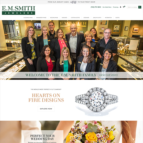 E.M. Smith Jewelers website design example - jewelry website in Ohio