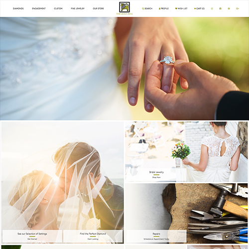 The Green Bull website design example - jewelry websites