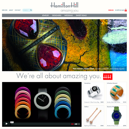 Hamilton Hill website design example - jewelry websites