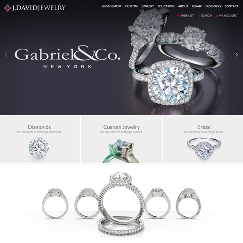 jewelry website design example for J. David Jewelry