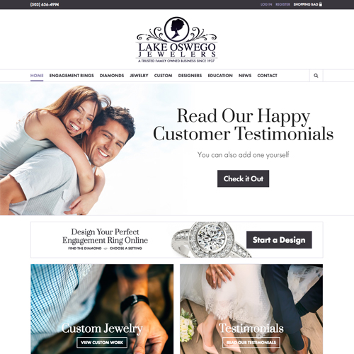 Lake Oswego Jewelers website design example - jewelry website in Oregon