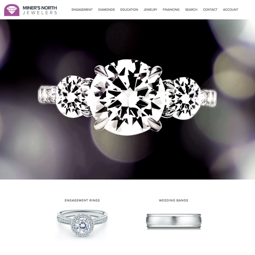 Miner's North Jewelers website design example - jewelry websites