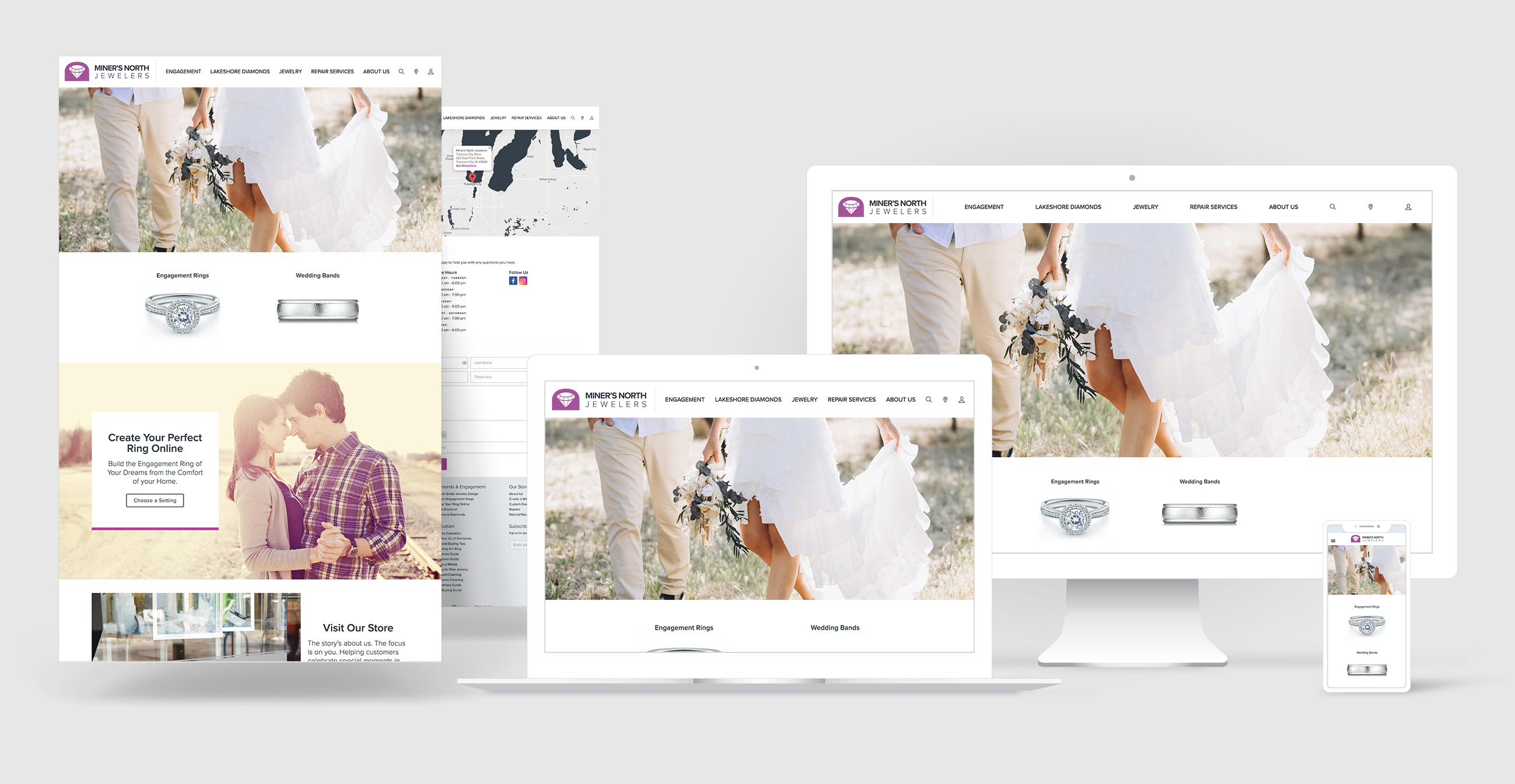 jewelry website design portfolio - Miner's North Jewelers