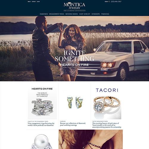 Montica Jewelry website design example - jewelry websites