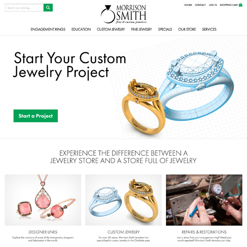 Morrison Smith Fine Jewelers website design example - jewelry websites