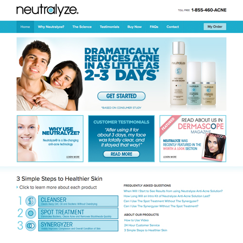 Neutralyze website design example - acne medication website in New York City