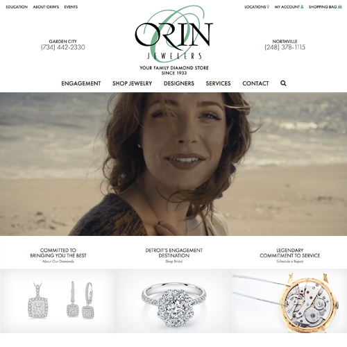 Orin Jewelers website design example - jewelry websites