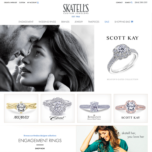 Skatells Custom Jewelers website design example - jewelry website in Greenville, SC