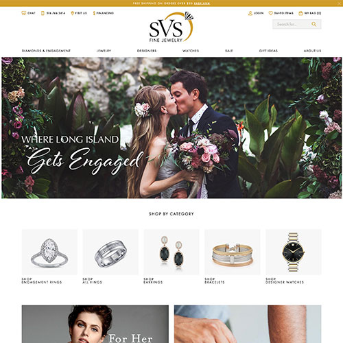 SVS Fine Jewelry website design example - jewelry website in New York