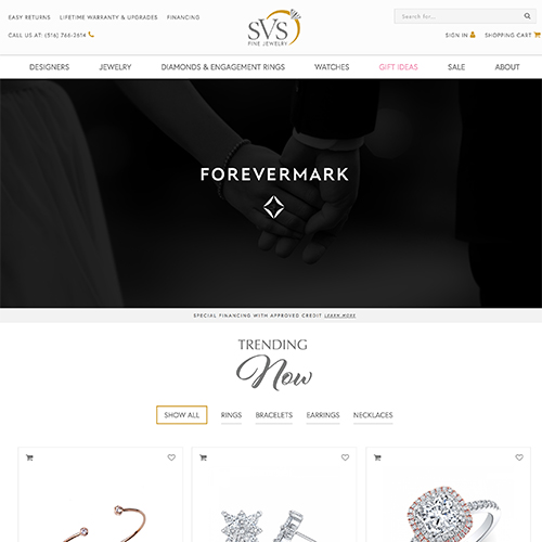 SVS Fine Jewelry website design example - jewelry websites
