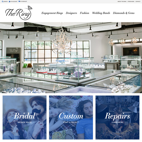 The Ring by Gold Gals website design example - jewelry websites