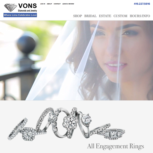 Von's Jewelers website design example - jewelry website in Ohio