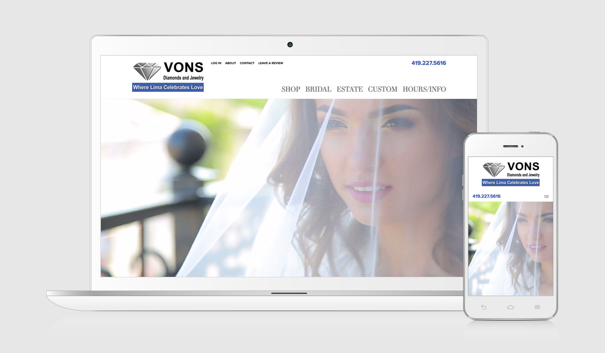 jewelry website design portfolio - Von's Jewelry