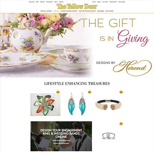 The Yellow Door website design example - jewelry websites
